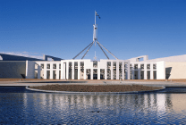 Parliament House in Canberra flying Australian flag