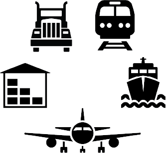 icons of train, ship, airplane, warehouse and truck