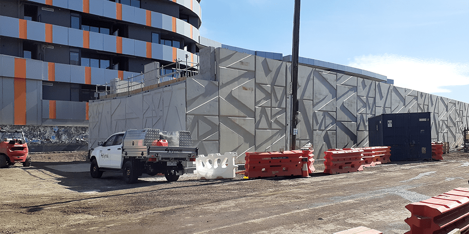 Large concrete panels installed at the Bell Street construction site
